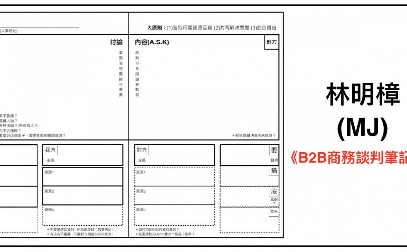 林明樟(MJ)老師《B2B商務談判筆記本》~ 表格電子檔下載